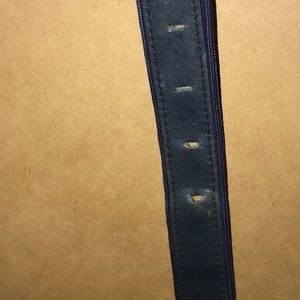 Accessories - Vintage Blue Leather Belt 30 Long Gold Tone Buckle